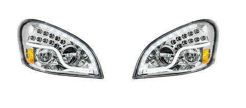 Image of Pair of LED Headlights with Dual Function LED DRL & Turn for Freightliner Cascadia - 1