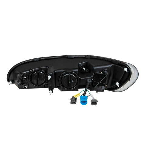 Image of Pair of Chrome Projection Headlights with LED DRL & Turn Signals for Peterbilt - 5