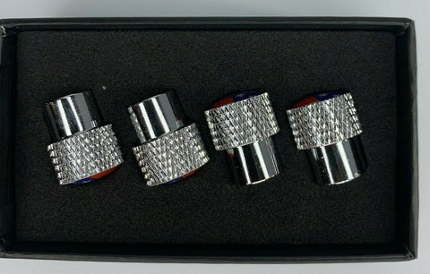 American Flag Valve Stem Caps - Knurled Chrome - Side