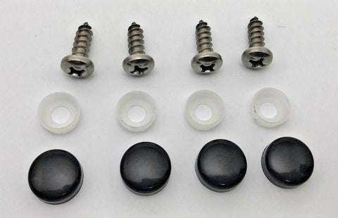 (4) License Plate Screws & Black Caps / Covers Set-Live Fast Supply Company