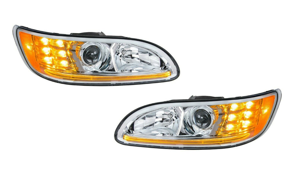 Pair of Chrome Projection Headlights with LED DRL & Turn Signals for Peterbilt - 1