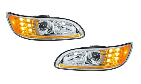 Image of Pair of Chrome Projection Headlights with LED DRL & Turn Signals for Peterbilt - 1