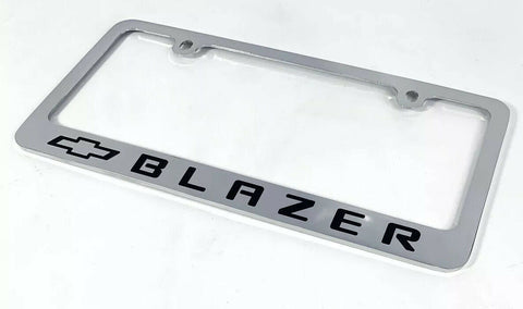 Chevy Blazer Chrome License Plate Frame - Premium Engraved w/ Black Bowtie - 2