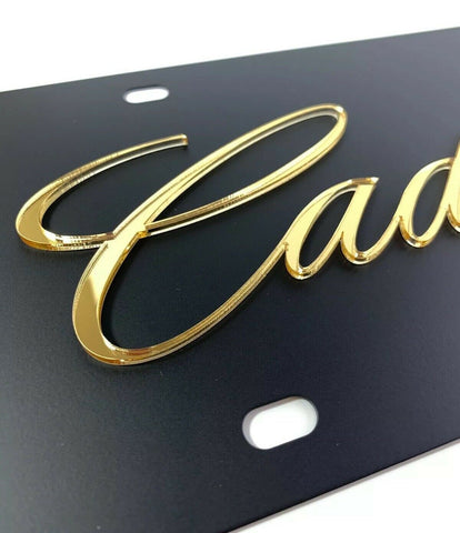 Cadillac License Plate - Black with Gold Script - Close up