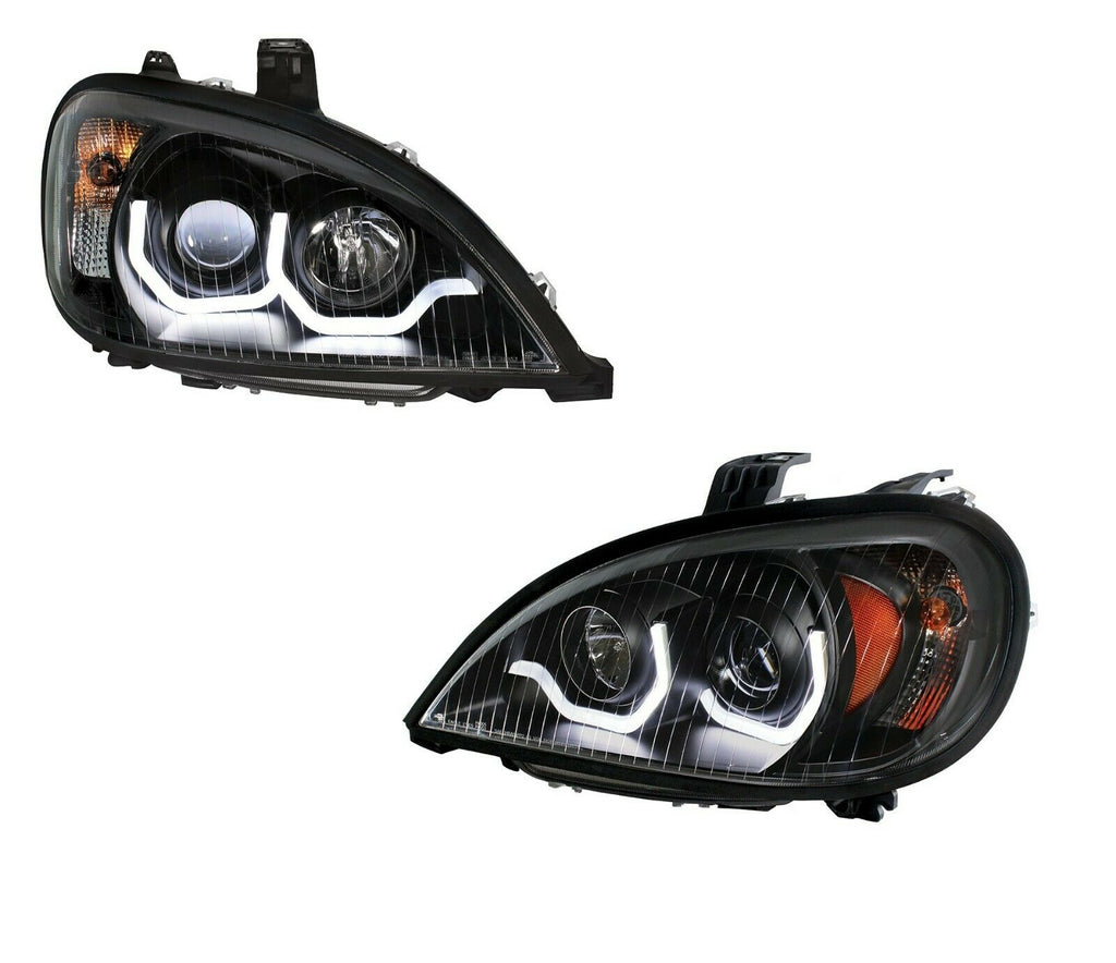 "Pair ""Blackout"" Headlights with White LED Light Bar for Freightliner Columbia"
