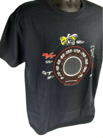 Image of Black T-Shirt w/ Speedometer Dodge Challenger & Charger Trim Levels - 2