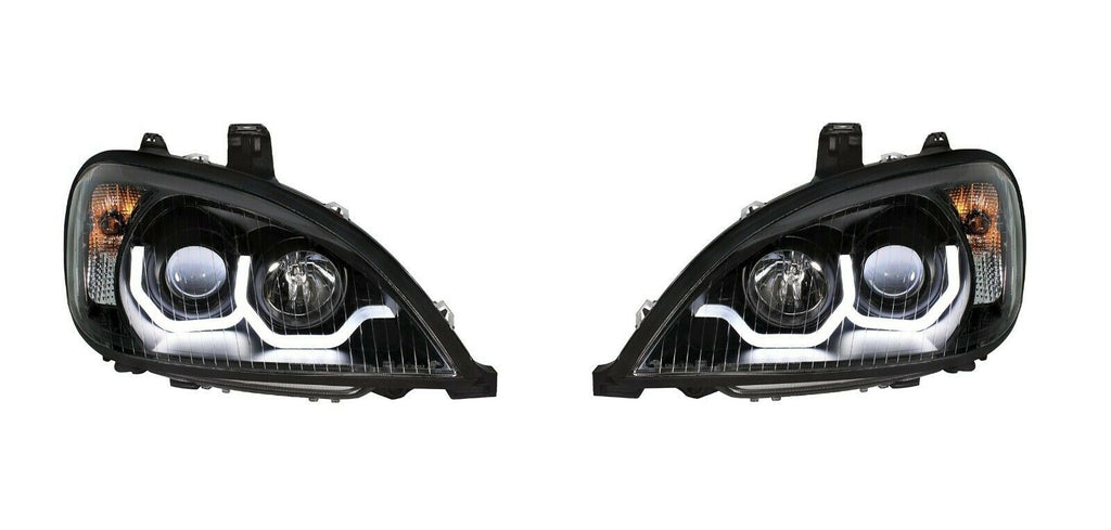 "Pair ""Blackout"" Headlights with White LED Light Bar for Freightliner Columbia - 1"
