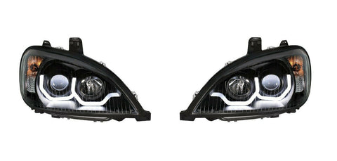 "Image of Pair ""Blackout"" Headlights with White LED Light Bar for Freightliner Columbia - 1"