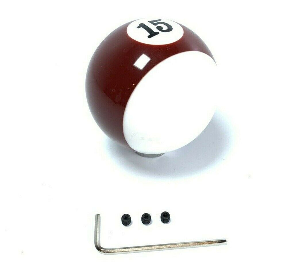 Pool Ball Gear Shift Knob (Stripes Burgundy, Number 15)-Live Fast Supply Company