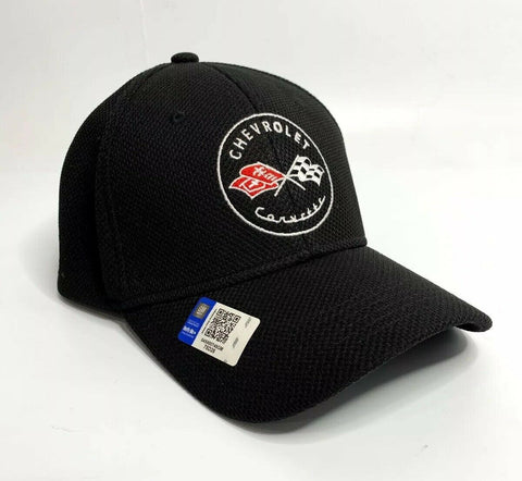 Image of Chevy C1 Corvette Hat / Cap - Black Flexfit Style w/ Crossed Flags Emblem - 2