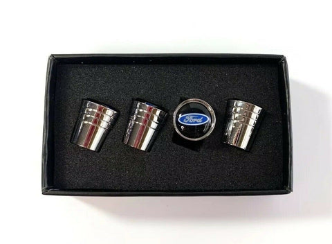 Ford Oval Valve Stem Caps - Tapered Chrome w/ Black - Main