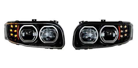 Image of Pair of Blackout LED Headlights with LED Halos & Turn Signals for Peterbilt 388/389 - 2