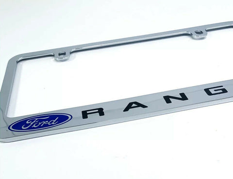 Ford Ranger Premium Chrome License Plate Frame w/ Blue Oval Emblem - 2