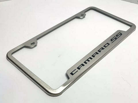 Image of Chevy Camaro SS License Plate Frame - Brushed w/ Black Logo - Main