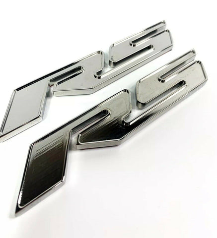 Image of Pair of 2010-2018 Chevrolet Camaro RS Side Emblems -  Chrome Billet Aluminum - 2