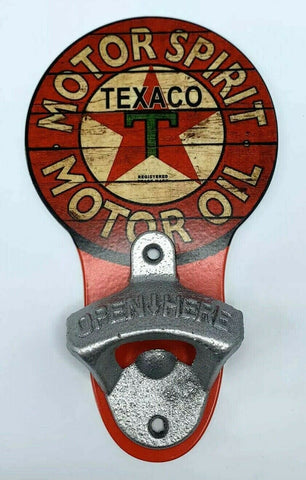 Image of Vintage Style Texaco Motor Oil Wall Mount Metal Bottle Opener Sign