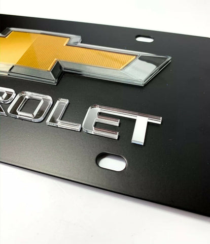 Chevy License Plate - Black with 3D Gold & Silver Bowtie Emblem & Mirrored Chevrolet Script - 2