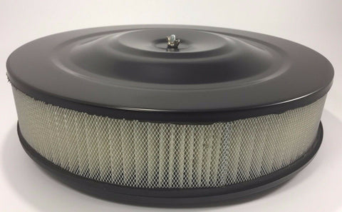 Image of Black Air Cleaner Assembly 14'' X 3'' (Round, Fits 5-1/8'' Carburetors)