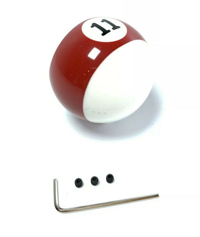 Pool Ball Gear Shift Knob (Stripes Red, Number 11)-Live Fast Supply Company