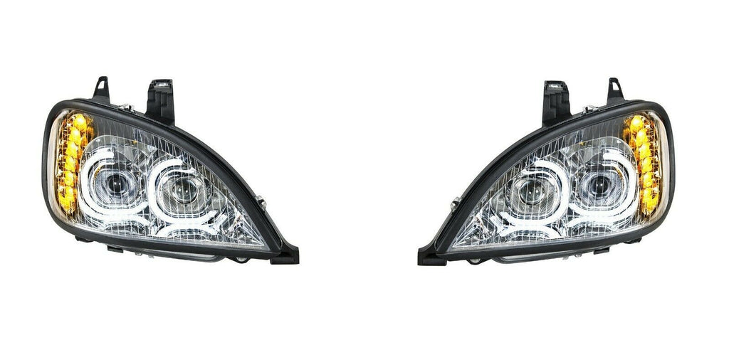 Pair of Chrome Headlights with LED Turn Signal Lights for Freightliner Columbia - 3