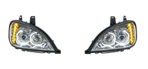 Image of Pair of Chrome Headlights with LED Turn Signal Lights for Freightliner Columbia - 3