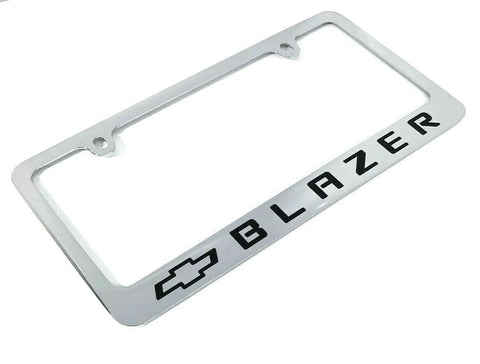 Chevy Blazer Chrome License Plate Frame - Premium Engraved w/ Black Bowtie