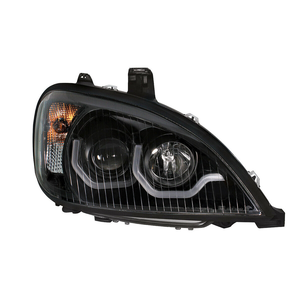 "Pair ""Blackout"" Headlights with White LED Light Bar for Freightliner Columbia - 3"