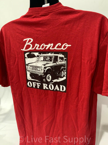 Ford Bronco T-Shirt - Red w/ 1st Generation 1966-1977 Off Road Emblem / Logo - 5