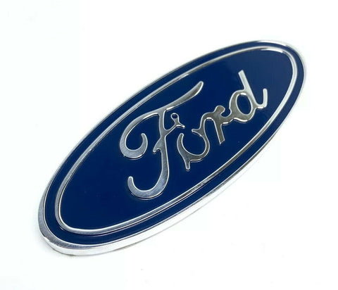 "Image of Ford Oval Emblem - Rear 5"" Blue & Chrome Premium Billet Aluminum"