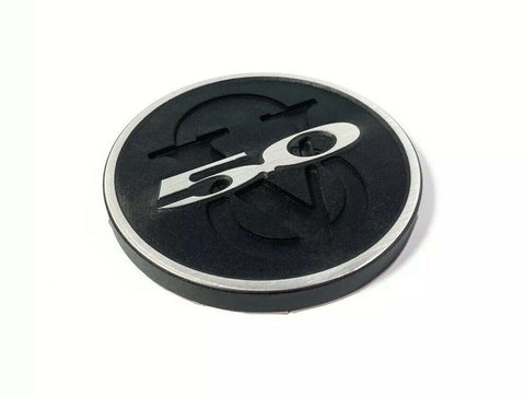 Image of 2011-2013 Ford Mustang Trunk Deck Lid 5.0 V8 Emblem - Brushed with Black Powdercoat - 1
