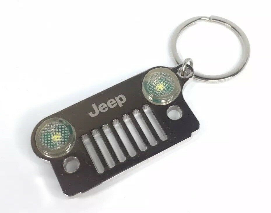 Jeep Wrangler Keychain - Chrome/Silver Metal Front Grill W/ LED Headlights - Main