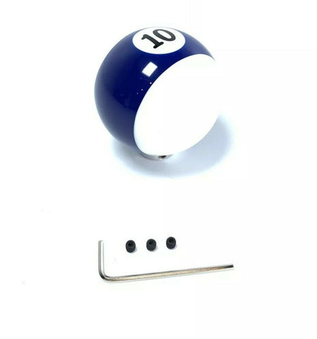 Image of Pool Ball Gear Shift Knob (Blue Stripes, Number 10)-Live Fast Supply Company