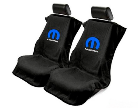 Pair 2 Universal Emblem Black Towel Protector Covers w/ Blue M - Licensed by Mopar