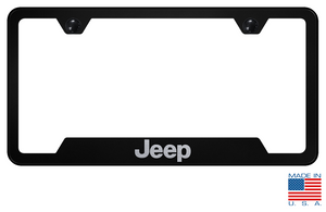 Jeep License Plate Frame - Black w/ Silver - Main