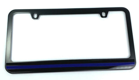 Image of Police Thin Blue Line License Plate Frame - Black