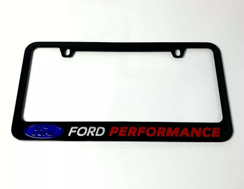 Ford Performance Black License Plate Frame w/ Logo & Script - Premium Engraved - 1