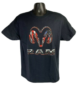 Black T-Shirt w/ Red White & Blue American Flag Dodge Ram Truck Emblem