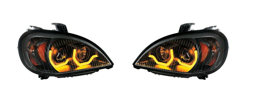 "Pair ""Blackout"" Headlights with Dual LED Amber Light Bar for Freightliner Columbia - 2"