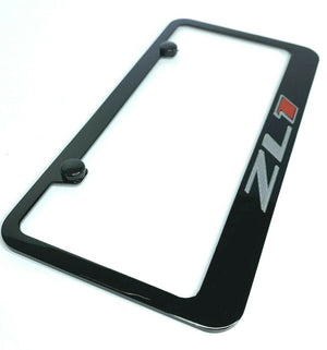 Chevy Camaro ZL1 License Plate Frame - Black w/ Silver and Red Logo - Main