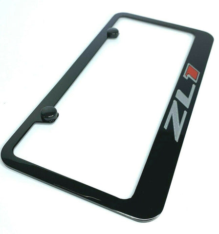 Image of Chevy Camaro ZL1 License Plate Frame - Black w/ Silver and Red Logo - Main
