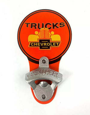 Vintage Style Chevrolet Trucks Grille Bowtie Wall Mount Metal Bottle Opener Sign