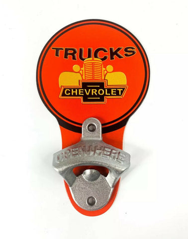 Image of Vintage Style Chevrolet Trucks Grille Bowtie Wall Mount Metal Bottle Opener Sign