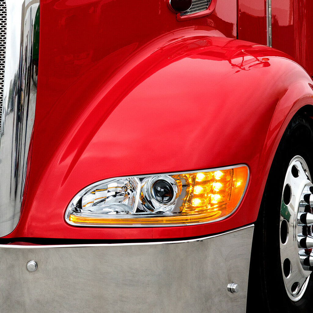 Pair of Chrome Projection Headlights with LED DRL & Turn Signals for Peterbilt - 4