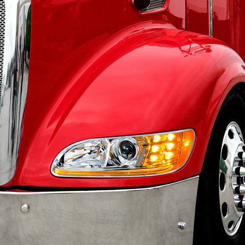 Image of Pair of Chrome Projection Headlights with LED DRL & Turn Signals for Peterbilt - 4