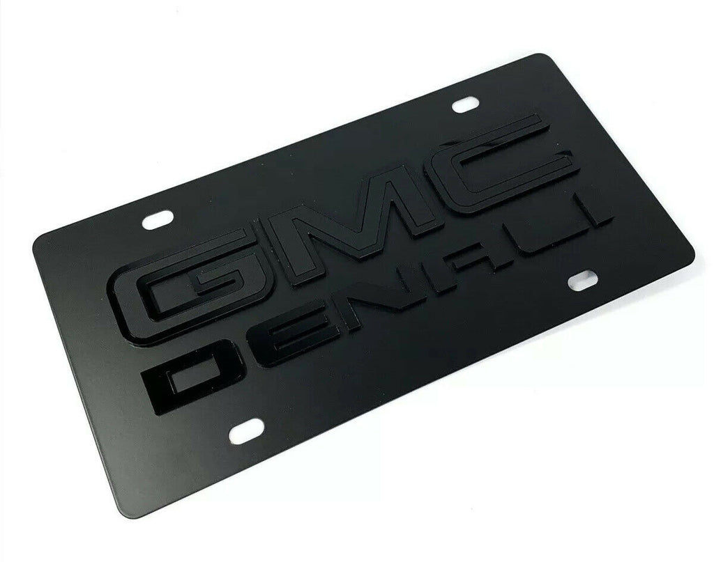 GMC Denali Emblem Premium Full Black License Plate - 3D Logo