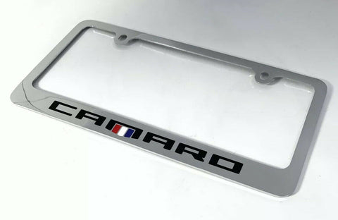 Chevy Camaro Chrome License Plate Frame - Premium Engraved Emblem - 2