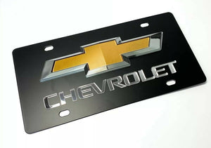 Chevy License Plate - Black with 3D Gold & Silver Bowtie Emblem & Mirrored Chevrolet Script