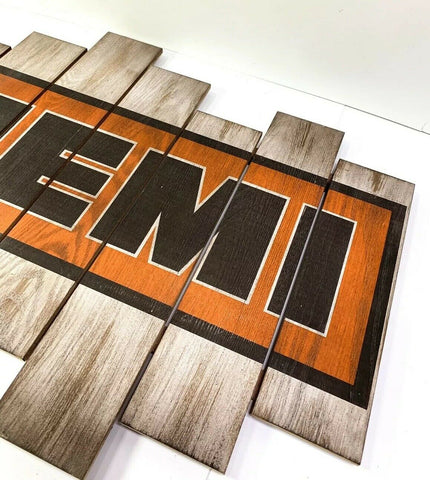 Image of Vintage Dodge Hemi Wooden Plaque Sign - Right