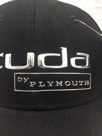 Image of Plymouth Cuda Hat - Black w/ Chrome Liquid Metal Emblem - Logo