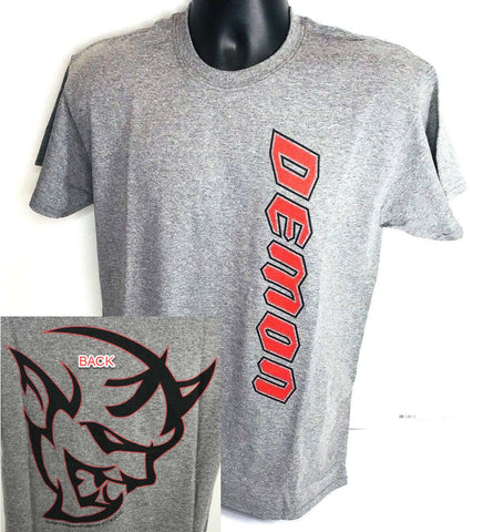 Gray T-Shirt w/ Red Dodge Demon Emblem / Logo (Licensed)